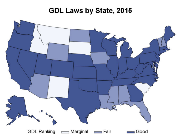 "In 2015, the International Institute for Highway Safety, which ranks the various graduated driver licensing (GDL) laws, listed 35 states as having good GDL laws. Another 10 were rated fair, and five were considered marginal. More than half of the students surveyed in the study lived in states with ""good"" GDL laws. (Image: Patricia Cavazos-Rehg)"